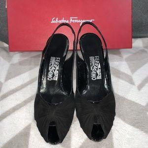 Salvatore Ferragamo Black Open toe Low Heel Shoes